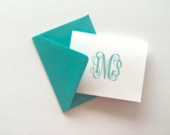 Monogram Stationery, Custom Stationery, thank you notes, notecards, modern monogram,  stationery set, foldover, flat printed on thick paper
