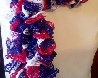 Red, white, and blue ruffled infinity scarf.