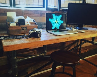 Iron Piping and Reclaimed Wood Artist's Desk