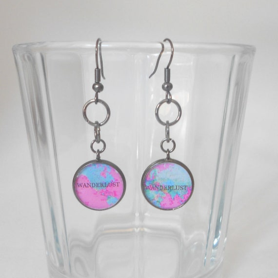 Wanderlust, Boho, World Map, Dangle Earrings, Pastel Goth, Adventure, Travel, Inspire, Pink, Light Blue, Cotton Candy Gunmetal Black, Hippy
