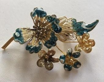 Vintage Gold Over Sterling Silver Filigree With Enamel Flower Cluster Pin Brooch