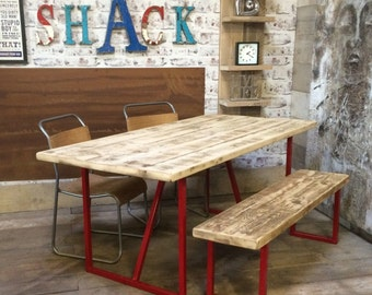 Salvation Industrial Reclaimed Plank Top Dining Table.... Made in Britain