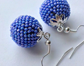 Bead crochet-blue-beaded rope earrings-ball earrings-round earrings