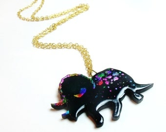disco dinosaurs series // black rainbow triceratops necklace