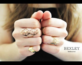 Geometric Gold plated adjustable rings set