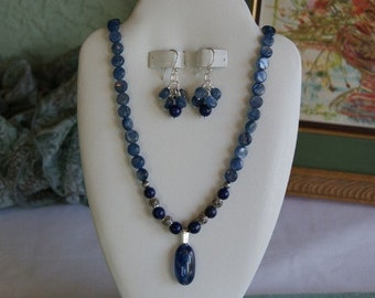Kyanite and Lapis beaded necklace with Kyanite pendant  -  217