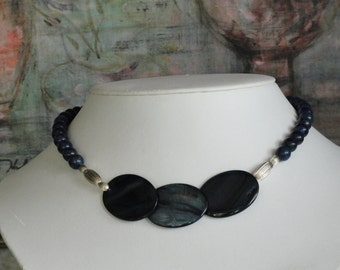 Lapis beaded necklace with 3 Large Shells Pendant  -  218