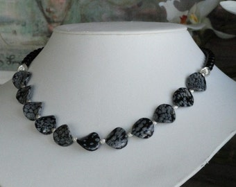 Black Onyx beaded necklace with Obsidian Curvy  Pendant  -  219