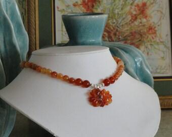 Carnelian beaded necklace with Carnelian Flower pendant  -  221