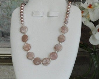 Pink Pearl beaded necklace with round Sunstone beads  -  229