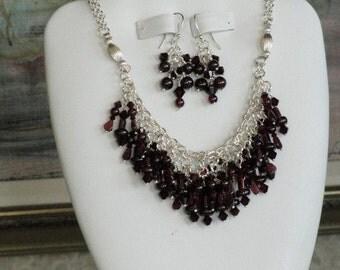 Garnet beaded necklace  -  234