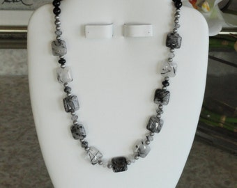 Rutilated Quartz and black Onyx beaded necklace  -  235