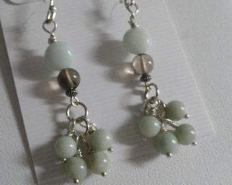 Green Jade with Smokey Quartz bead Earrings   -  #347