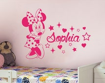 Name Wall Decal Minnie Mouse Vinyl Decals Sticker Custom Name Decals Personalized Baby Girl Name Decor Bedroom Nursery Baby Room Decor ZX58