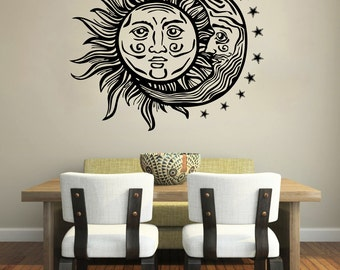 Moon Wall Decal Vinyl Sticker Decals Sun And Moon Crescent Dual Ethnic Stars Night Symbol Sunshine Bohemian Boho Home Decor Bedroom ZX61