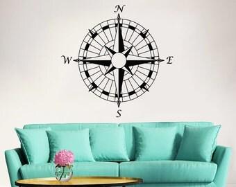 Compass Wall Decal Nautical Compass Rose Navigate Vinyl Sticker Decals Art Home Decor Wall Decal Living Room Bedroom Ship Ocean Sea ZX163