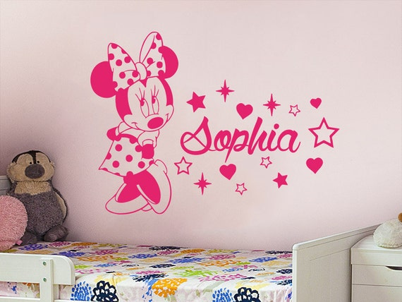 name wall decal minnie mouse vinyl decals by incredibledecals. Black Bedroom Furniture Sets. Home Design Ideas