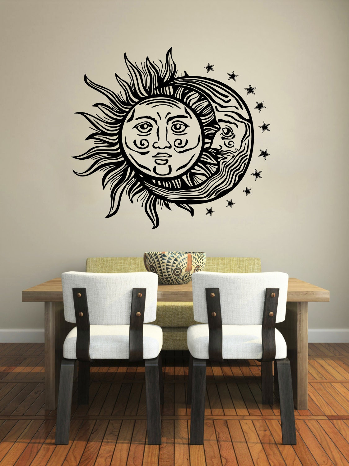 moon wall decal vinyl sticker decals sun and moon crescent. Black Bedroom Furniture Sets. Home Design Ideas