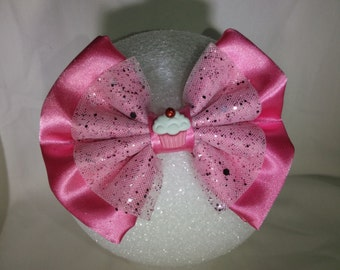 Pink Cup Cake Hair Bow - Small