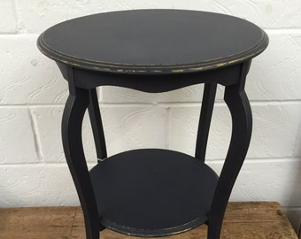 Upcycled Round Side table - Navy & Gold