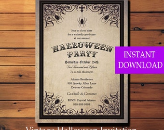 Halloween Party Invitation Spider - Halloween Invitation - Halloween Party Invitation - Printable - Instant Download - Diy