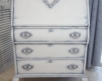 Sold** Vintage Secretary Desk, Hand Painted and Distressed in Layers of Gray and White with Rose Gold Details