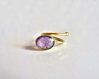 Gold Amethyst Ring // 14K gold vermeil // Adjustable ring
