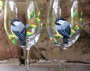 Handpainted Chickadee Wine Glass set