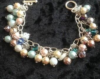 Pastel pearl charm bracelet