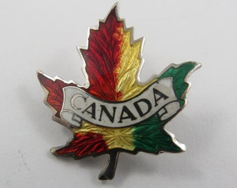 Vintage Enameled 3D  Silver Pin from Canada.Red Yellow and Green.