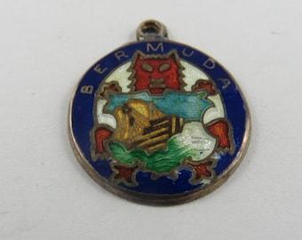 Enameled Bermuda Silver Charm of Pendant.