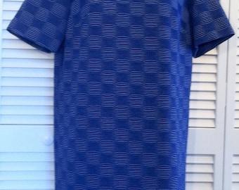 Blue & White Swirl Textured Vintage Mod Mini Dress