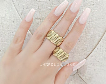 Gold Mesh Ring Knuckle Ring Midi Ring