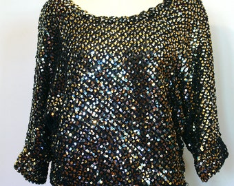 Vintage 1980s Sequin Sweater Top with Dolman Sleeve - Silver, Black & Gold Sequins