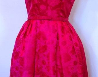 Vintage 1940s Magenta Floral Brocade Tea length Dress