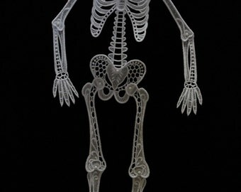 Skeleton Halloween Decoration, Free Standing Lace Skeleton, Fully Articulated