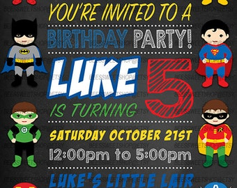 Superhero Birthday Invitations Printable Digital File | Personalized