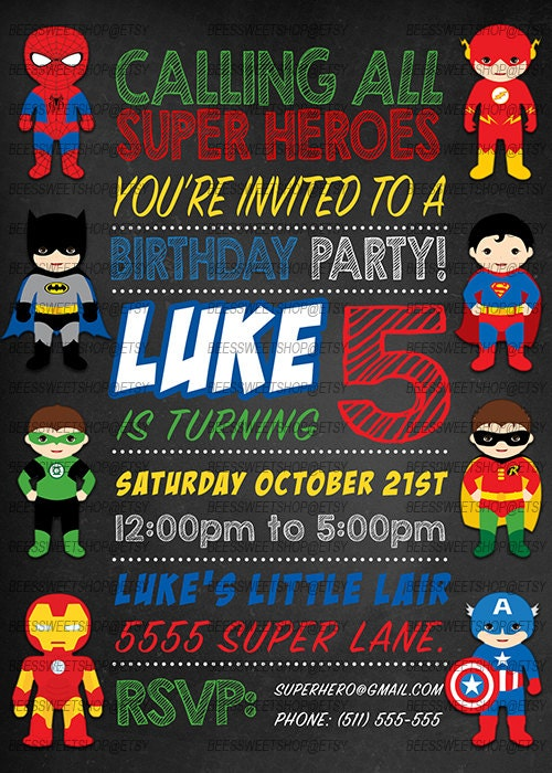 Gratifying image in free printable superhero birthday invitation templates