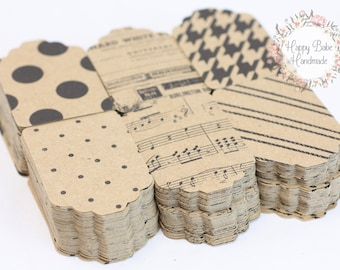 Kraft Tags, 2--1/4 by 1--1/2 Inch, Boutique Tags, Gift Tags, Paper Tags, Retro Gift Tag, Merchandise Tags, Patterned Tags, Wedding Favor Tag