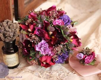 Bridal Bouquet , Silk Bouquet , Wedding Bouquet , Handmade Bouquet , Cybidium , Violet ,Bouquet with Groom's Boutonniere #No11_004Pur