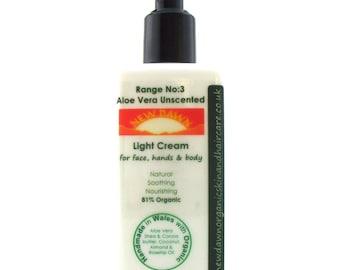 Aloe Vera Organic Light Moisturiser ~ Unscented for Sensitive Skin ~ Organic Skin Care ~ Vegan ~ Handmade Cream