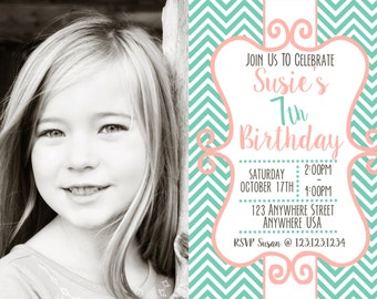 "Chic Girl Birthday Invitation - For One Photo - Several Color Combos - Any age! 4""x6"" or 5""x7""!"