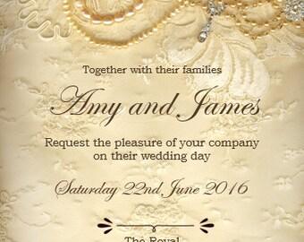Vintage lace and jewellery digital wedding invitation set