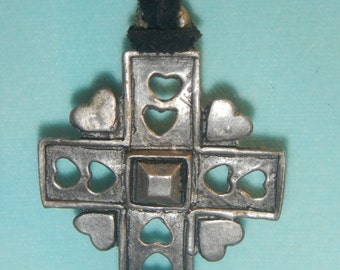 Cross on a leather string, Vintage Necklace