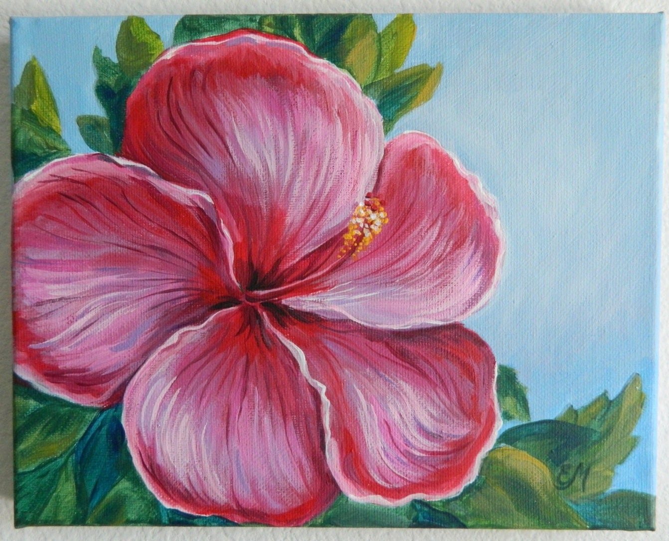 Hibiscus painting flower painting original flower painting for Flower paintings on canvas