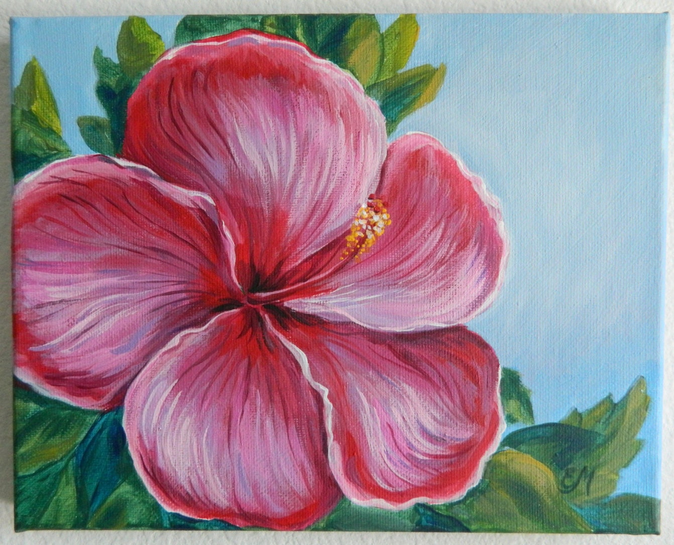 Flower Paintings On Canvas Of Hibiscus Painting Flower Painting Original Flower Painting