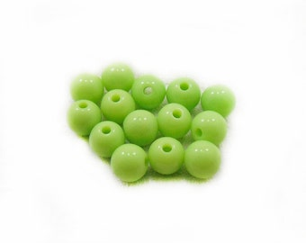 8mm Green Plastic Beads, Green Plastic Beads, Acrylic Green Beads,  Round Beads, 10pcs Green Beads , Jewelry Making, Craft Supplies