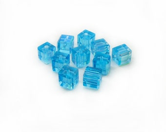 Blue Glass Beads, Blue Cube Beads, Faceted Beads, 10mm Blue Beads, Jewerly Making, 10 pcs Blue Beads, Graft Supplies, Glass Beads