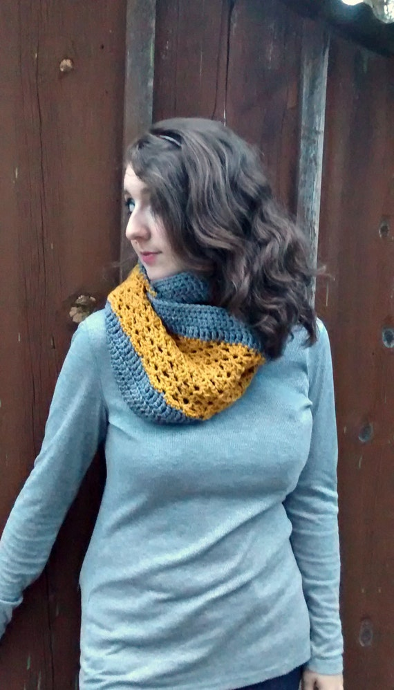 Textured lacy infinity scarf in charcoal and gold