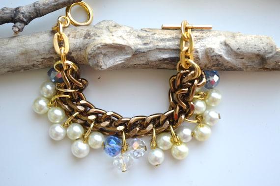 Pearl bracelet,Cluster bracelet,Ivory Pearl bracelet,Bridesmaid bracelet,Wedding Bracelet,Off white Bracelet,Pearl Cluster Bracelet,Ivory
